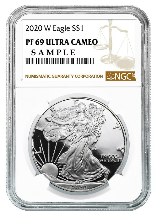 2020 W 1oz Silver Eagle Proof NGC PF69 Ultra Cameo - Brown Label
