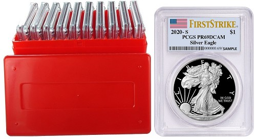 2020 S 1oz Silver Eagle Proof PCGS PR69 DCAM - First Strike Label - 10 Pack w/Case