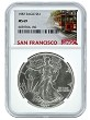 1987 Struck At San Francisco Silver Eagle NGC MS69 - Trolley Label