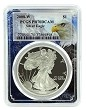 2008 W 1oz Silver Eagle Proof PCGS PR70 DCAM - Eagle Picture Frame
