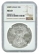 2009 1oz Silver American Eagle NGC MS69 - Brown Label