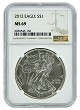 2012 1oz Silver American Eagle NGC MS69 - Brown Label