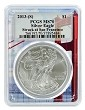 2013 (s) Struck At San Francisco Silver Eagle PCGS MS70 - Golden Gate Frame