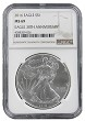 2016 1oz Silver American Eagle NGC MS69 - Brown Label