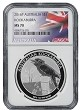 2016 Australia 1oz Silver Kookaburra NGC MS70 - Flag Label