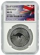 2017 Australia 1oz Silver Kangaroo NGC MS70 - Flag Label