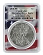 2018 W Burnished Silver Eagle PCGS SP69 - First Day Issue - Flag Frame
