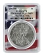 2018 W Burnished Silver Eagle PCGS SP70 - First Day Issue - Flag Frame