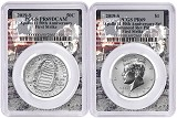 2019 S Apollo 11 50th Anniversary Proof Clad Half Dollar 2 Coin Set PCGS PR69 DCAM First Strike Apollo Frame