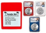 2019 1oz Silver Eagle NGC MS70 - Red White and Blue 3 Coin Set - Donald Trump Label w/Case