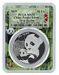2019 China 10 Yuan Silver Panda PCGS MS70 - First Strike - Panda Frame
