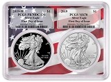 2019 1oz Silver Eagle Two Coin Set PCGS PR70 MS70 - First Day Of Issue - Flag Frame