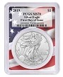 2019 1oz Silver Eagle PCGS MS70 - First Day Issue - Flag Frame