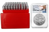 2020 W Burnished Silver Eagle NGC MS69 - Early Releases - Trump Label - 10 Pack w/Case - Presale
