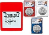 2020 W Burnished Silver Eagle NGC MS69 - First Day Issue - Red White and Blue Core Set - Trump Label - Presale