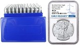 2020 W Burnished Silver Eagle NGC MS70 - Early Releases - Blue Label - 10 Pack w/Case - Presale