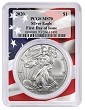 2020 1oz Silver Eagle PCGS MS70 - First Day Issue - Flag Frame