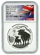 2021 Australia 1oz Silver Lunar Ox NGC MS69 Early Releases - Flag Label